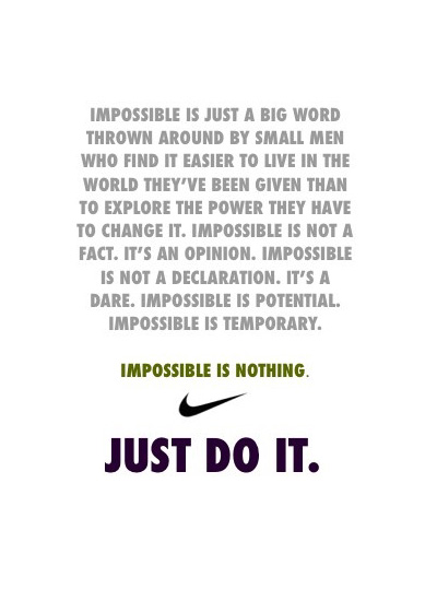 Impossible Is Nothing Quote Awesome Impossibleisnothing  Inspiremyworkout  A Collection Of